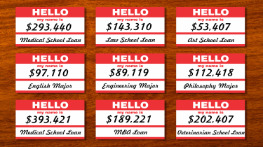 picture of nine name tags with information about the person's student loan debt