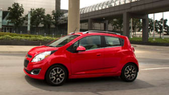 The 2013 Chevrolet Spark drives through the streets of Detroit, Michigan during a media event Thursday, August 2, 2012. (Photo by John F. Martin for Chevrolet)