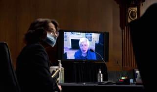 Janet Yellen, President-Elect Joe Biden's nominee for Treasury secretary, talks to Congress via video during a confirmation hearing