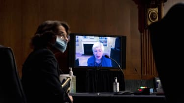 Janet Yellen, President-Elect Joe Biden's nominee for Treasury secretary, talks to Congress via video during a confirmation hearing