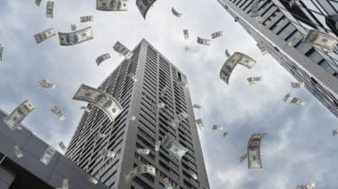 Image of money falling from the sky