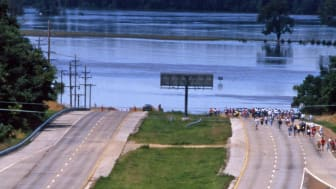 Photo of floodwaters near highway