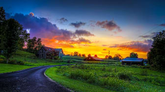 A winding road at a sunset
