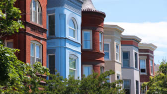 Washington DC, capital city of the United States. Capitol Hill district with colorful townhouses.