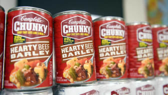 A row of Chunky Soup cans