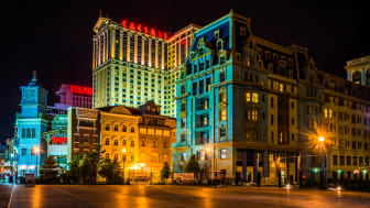 Buildings on the boardwalk at night in Atlantic City, New Jersey.