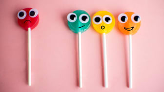 One lollipop separated by a gap from a group of three other lollipops