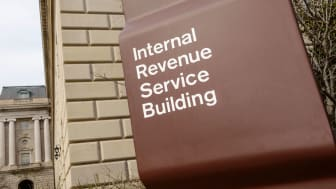 """picture of sign outside the IRS headquarters saying """"Internal Revenue Service Building"""""""