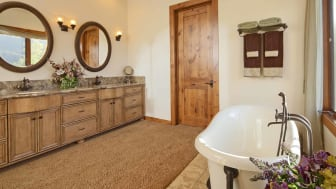 A carpeted bathroom