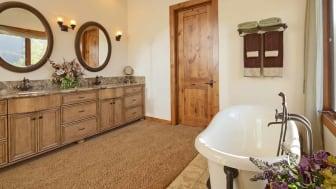 A carpeted bathroom