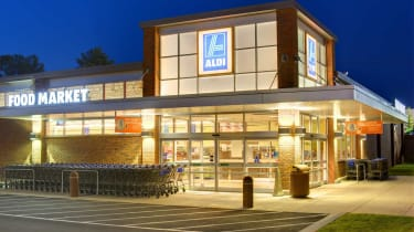 Athens, Georgia, USA - May 8, 2012:Aldi Food Marketis a German-based discount supermarket chain which currently operates more than 1,150 stores in the U.S. and about 8,133 worldwide.