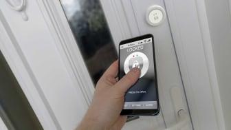 person unlocking smart door