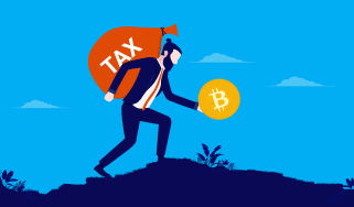 drawing of man walking with big bag of tax money while holding bitcoin in hand