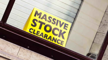 """Sign that says """"massive stock clearance"""""""