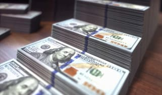 Stacks of one hundred US dollar banknotes, illustration.