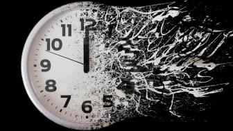 A clock disintegrates into the future.