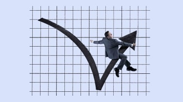 Humorous concept art of a businessman sitting on a rebounding stock price arrow