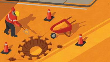 illustration of COVID construction