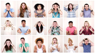 group of pictures of people with shocked expressions