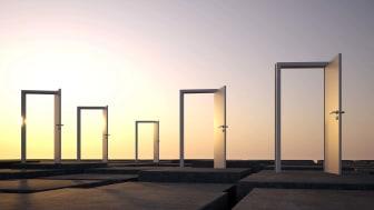 Concept art of open doors, expressing new opportunities