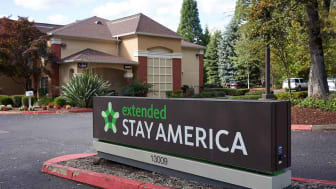 Tigard, Oregon, USA - Sep 30, 2019: The entrance to an Extended Stay America hotel in Tigard. The economy, extended-stay hotel chain consists of 629 properties in the US and Canada.