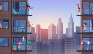 Graphic of neighbors on apartment balconies