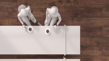 Roboter trinken Kaffee zusammen, 3D rendering, digital generiert, Roboter,Raum, Zimmer,innen, Geschäftsmann, technisch, künstlich, Computer, wireless, überall erreichbar, Technologie, futuris
