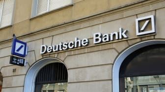 Reus, Spain - February 20, 2016: Deutsche Bank office, with white text and logo, in the city of Reus at Spain, on februrary 20, 2016