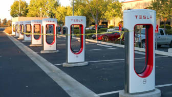 NAPA, CALIFORNIA- OCTOBER 10: Tesla charging stations are tied off with caution tape to prevent cars from charging on October 10, 2019 in Napa, California. PG&E has continued plans to cut pow