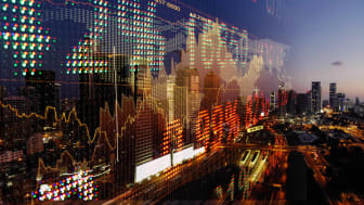 stock chart overtop financial district