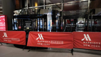 NEW YORK, NY - MARCH 22: The Marriott hotel in Times Square is barricaded as much of the city is void of cars and pedestrians over fears of spreading the coronavirus on March 22, 2020 in New