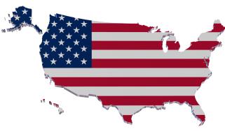 Map of U.S. with U.S. flag design