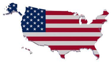 Map of U.S. with U.S. flag design