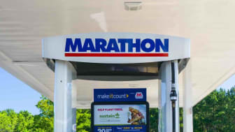 DOUGLASVILLE, GA/USA - JUNE 6, 2018: Marathon Oil gas station sign and logo. Marathon Oil Corporation is an American petroleum and natural gas exploration and production company. (DOUGLASVILL