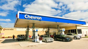Fort Lauderdale - December 1, 2019: People fill up their cars at Chevron gas station at Fort Lauderdale on December 1, 2019. Chevron is a multinational energy corporation it employs 64,600 pe