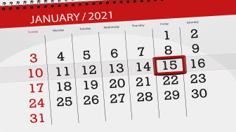 picture of calendar with January 15, 2021, circled