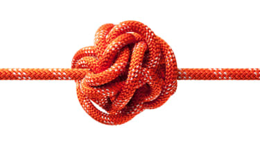 A rope with a big tangled knot.