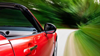 Driving a sports cabriolet
