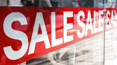 Sale banner in a storefront window
