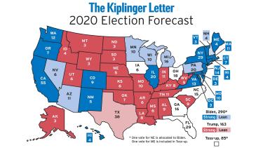 US map detailing Kiplinger's electoral vote forecast