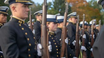 picture of cadets in formation with rifles at the Coast Guard Academy