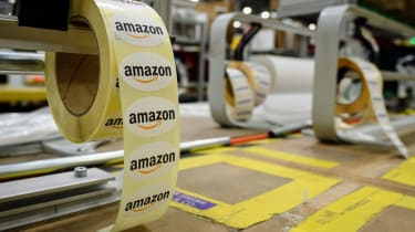 PETERBOROUGH, ENGLAND - NOVEMBER 15:A close-up of Amazon gift-wrap packaging labels in the Amazon Fulfilment centre on November 15, 2017 in Peterborough, England.A report in the US has sugges