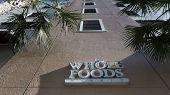 The exterior of a Whole Foods store sign