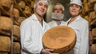 Three cheesemakers hold a wheel of cheese