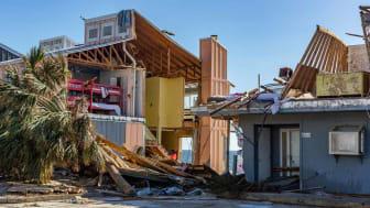 Hurricane damage in a Florida town