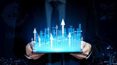 Concept art of tech stocks going higher