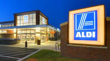 Exterior of an Aldi supermarket at night