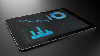 A tablet showing analytics