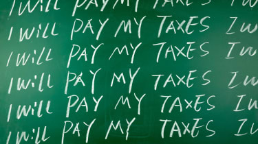"""picture of """"I will pay my taxes"""" written over and over on a blackboard"""