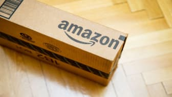 Amazon-branded cardboard shipping box